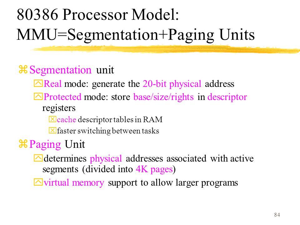 80386 Processor Model: MMU=Segmentation+Paging Units