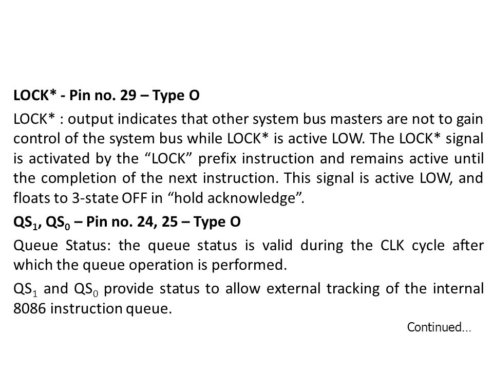 LOCK. - Pin no. 29 – Type O LOCK