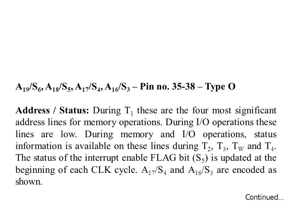 A19/S6, A18/S5, A17/S4, A16/S3 – Pin no. 35-38 – Type O