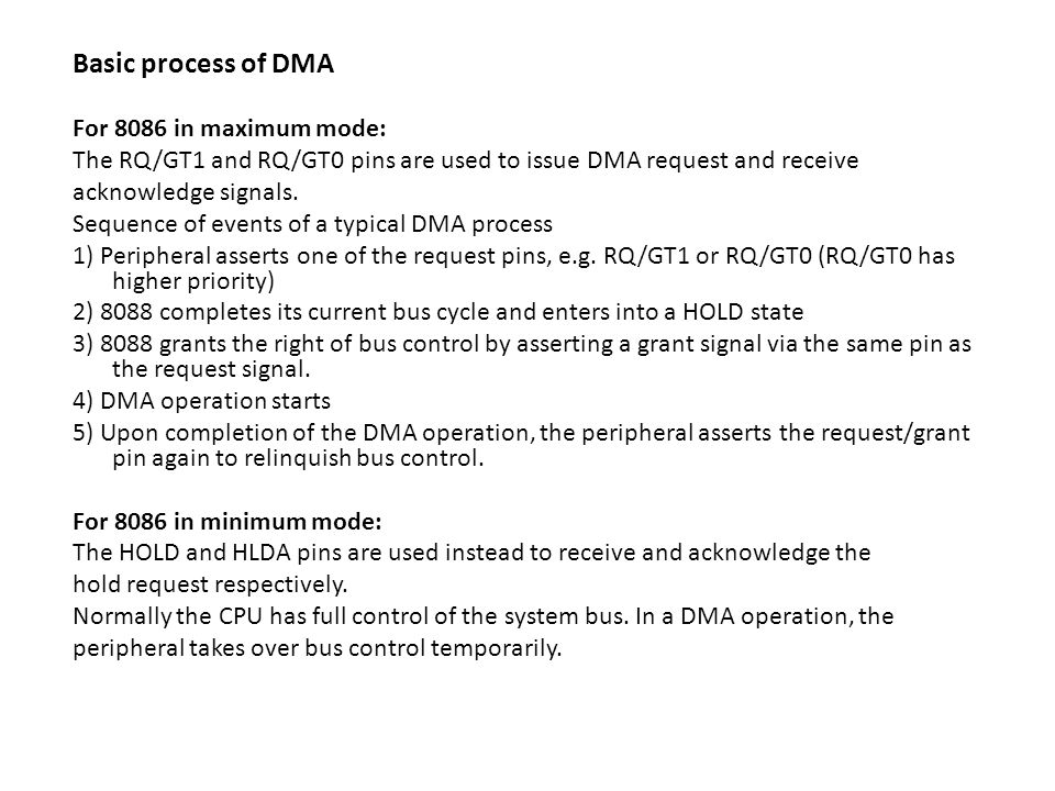 Basic process of DMA For 8086 in maximum mode: