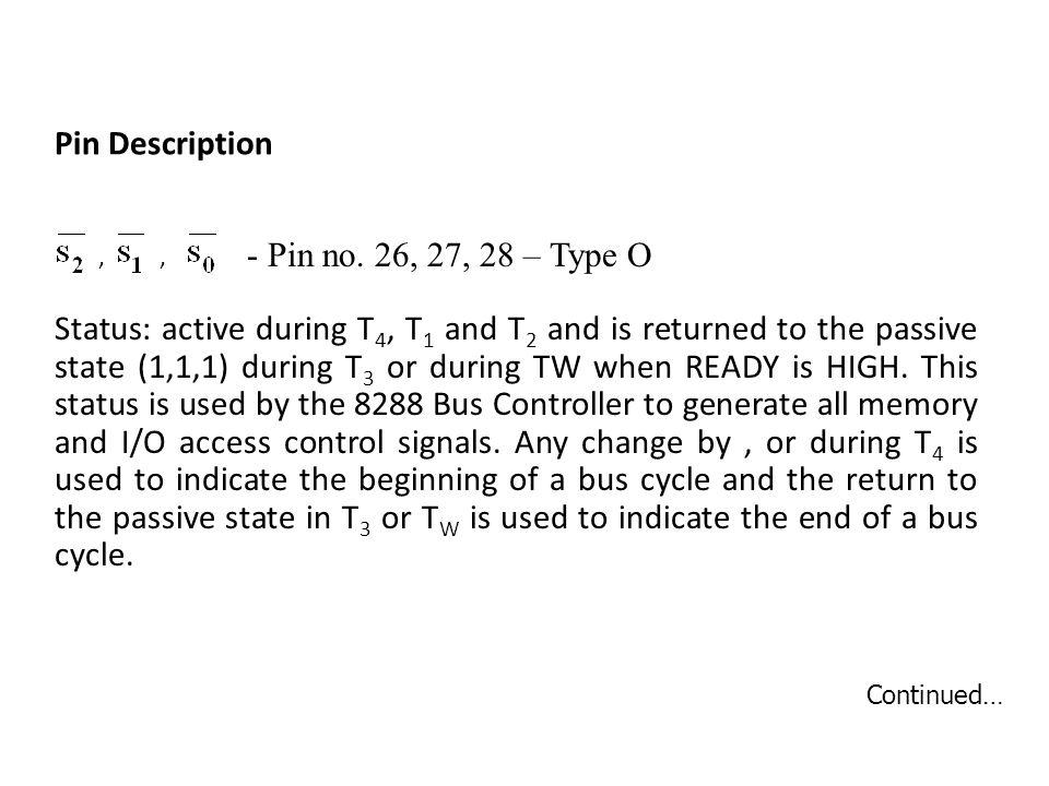 Pin Description - Pin no. 26, 27, 28 – Type O