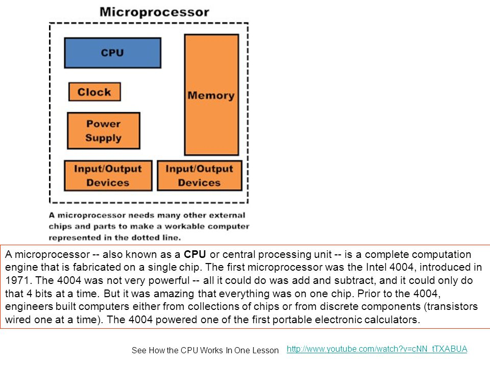 A microprocessor -- also known as a CPU or central processing unit -- is a complete computation engine that is fabricated on a single chip. The first microprocessor was the Intel 4004, introduced in 1971. The 4004 was not very powerful -- all it could do was add and subtract, and it could only do that 4 bits at a time. But it was amazing that everything was on one chip. Prior to the 4004, engineers built computers either from collections of chips or from discrete components (transistors wired one at a time). The 4004 powered one of the first portable electronic calculators.