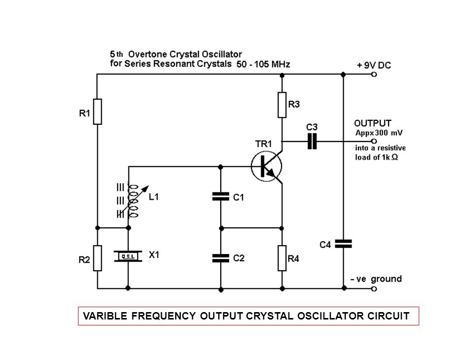VARIBLE FREQUENCY OUTPUT CRYSTAL OSCILLATOR CIRCUIT