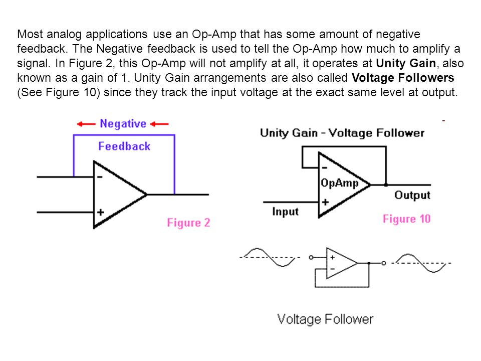 Most analog applications use an Op-Amp that has some amount of negative feedback.