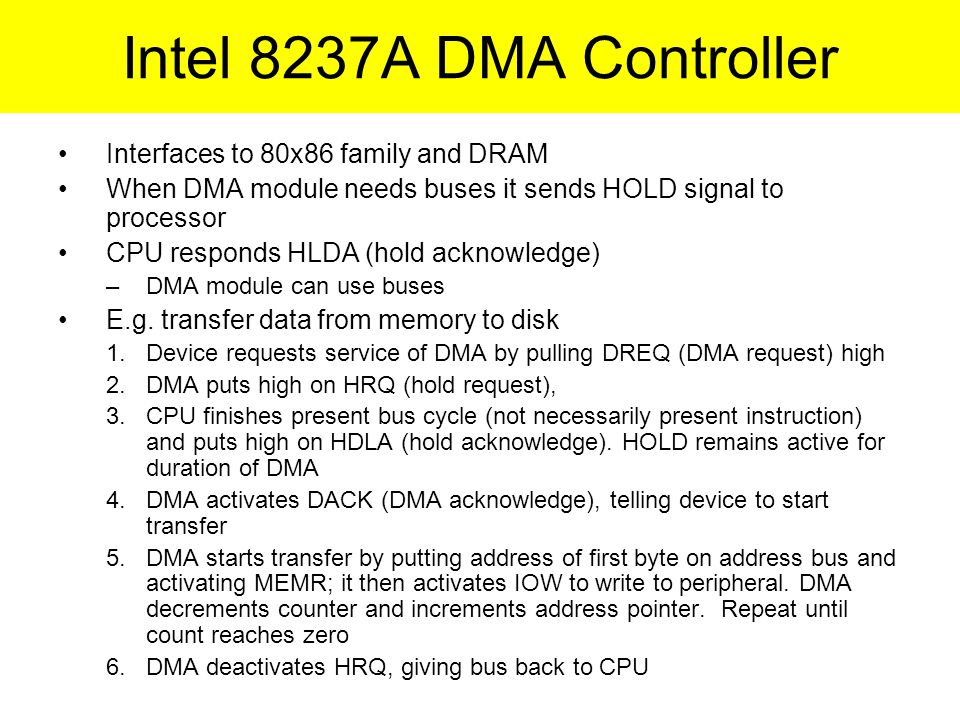 Intel 8237A DMA Controller Interfaces to 80x86 family and DRAM