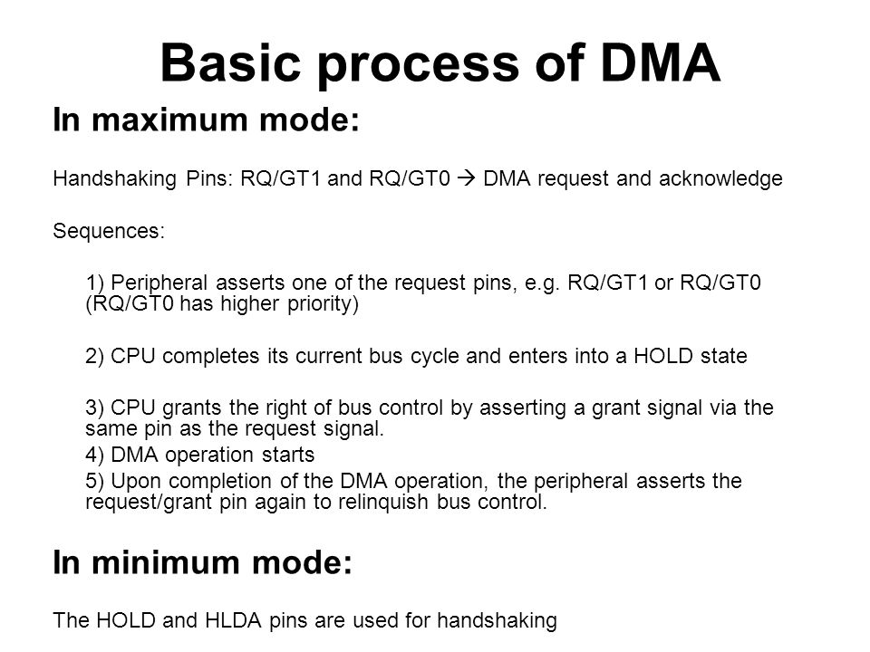 Basic process of DMA In maximum mode: In minimum mode: