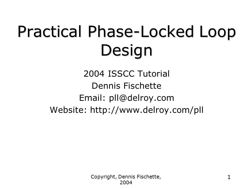 Practical Phase-Locked Loop Design
