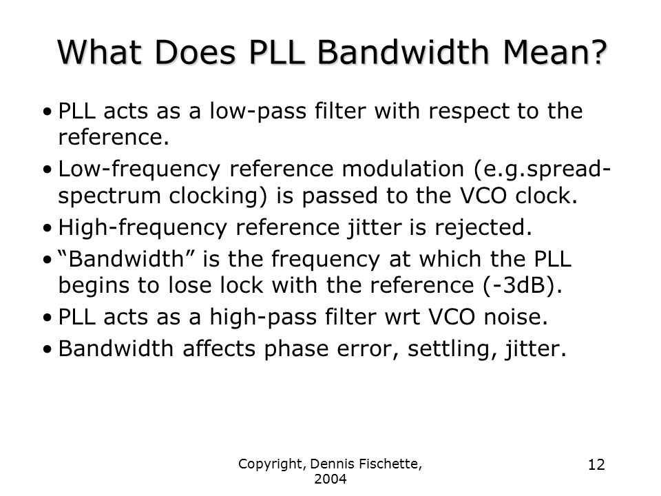 What Does PLL Bandwidth Mean