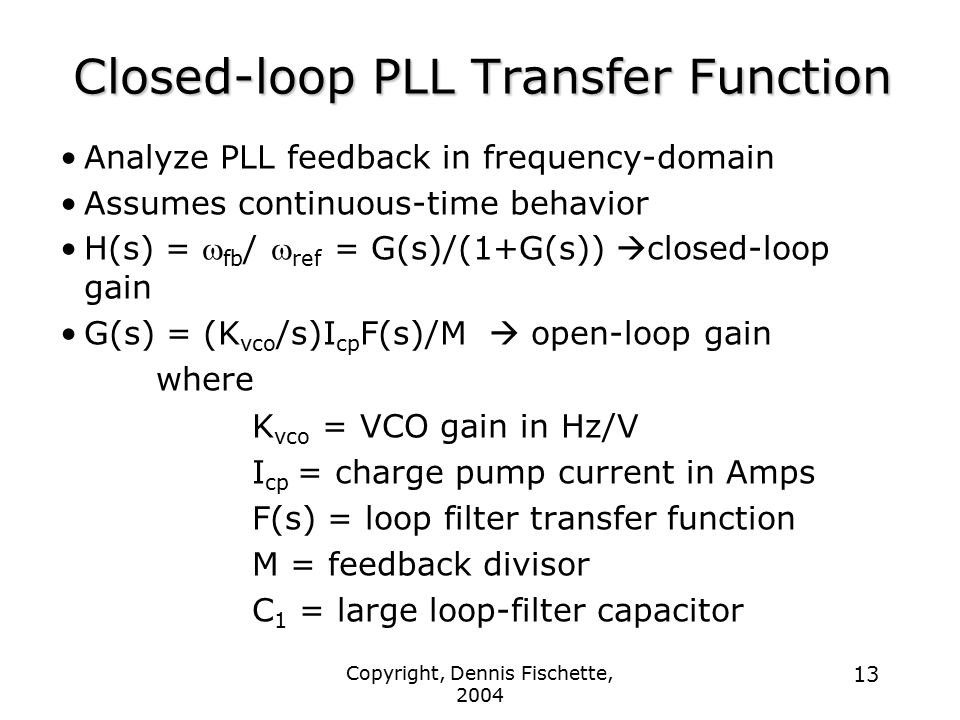 Closed-loop PLL Transfer Function