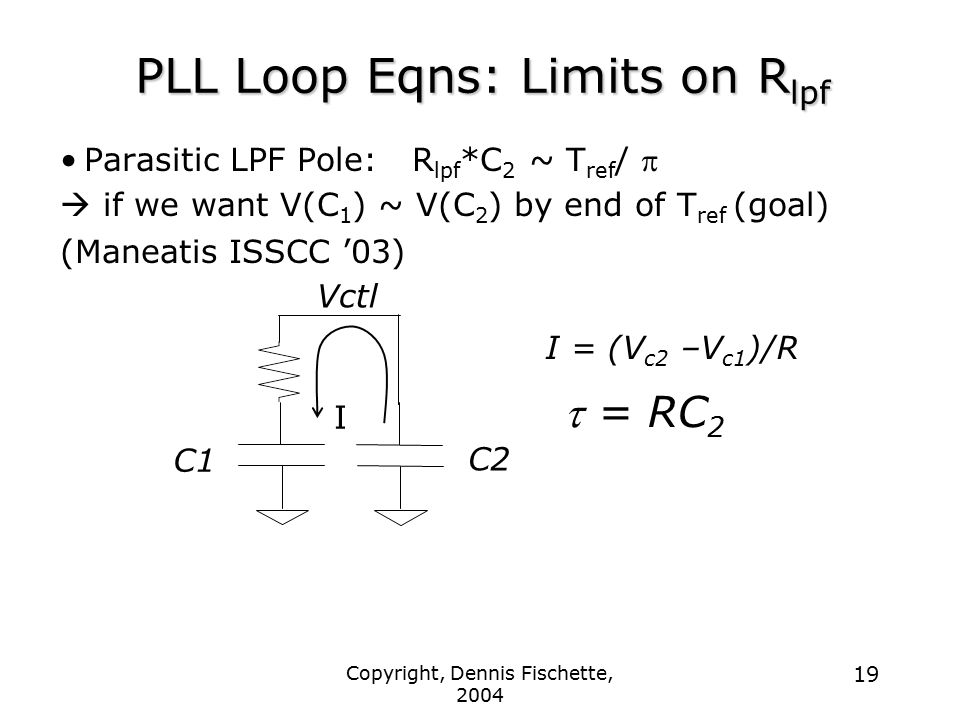 PLL Loop Eqns: Limits on Rlpf