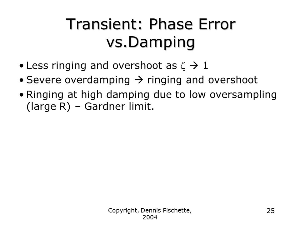 Transient: Phase Error vs.Damping