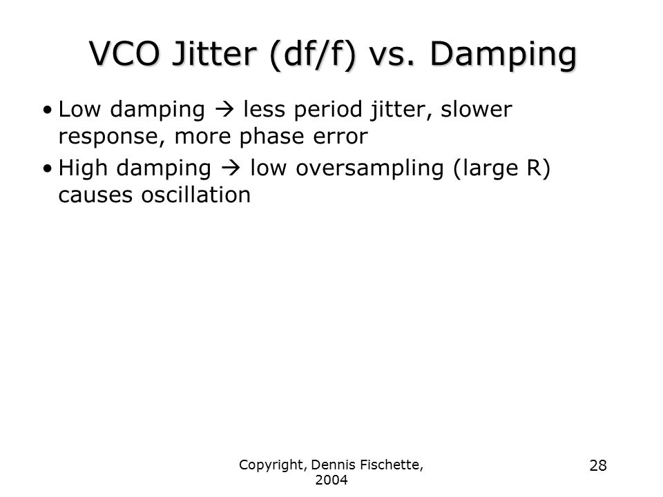 VCO Jitter (df/f) vs. Damping