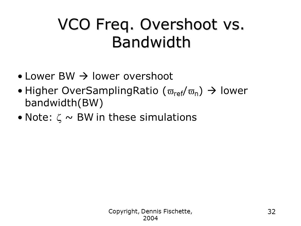 VCO Freq. Overshoot vs. Bandwidth
