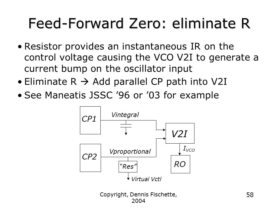 Feed-Forward Zero: eliminate R