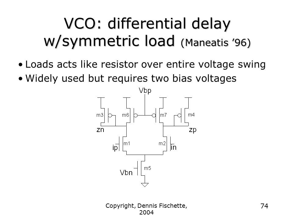 VCO: differential delay w/symmetric load (Maneatis '96)