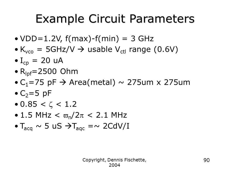 Example Circuit Parameters