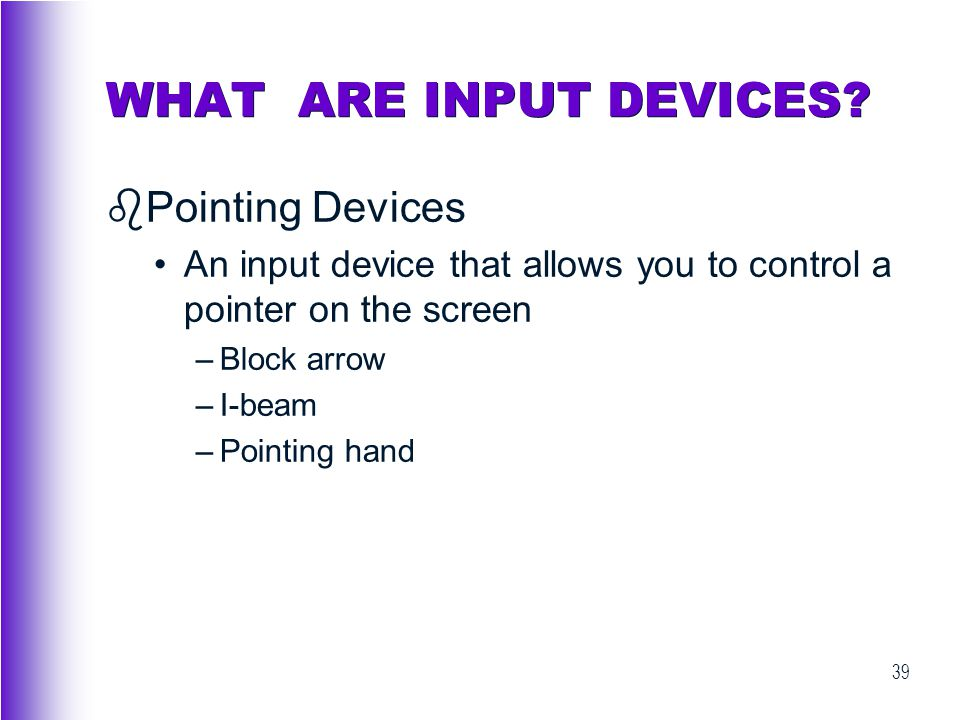 WHAT ARE INPUT DEVICES Pointing Devices