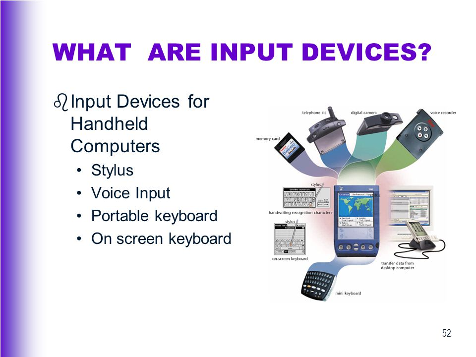 WHAT ARE INPUT DEVICES Input Devices for Handheld Computers Stylus
