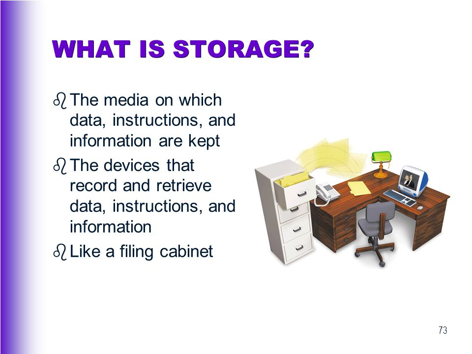 WHAT IS STORAGE The media on which data, instructions, and information are kept.