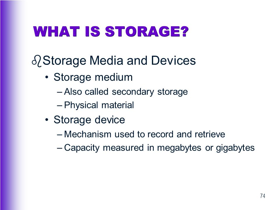 WHAT IS STORAGE Storage Media and Devices Storage medium