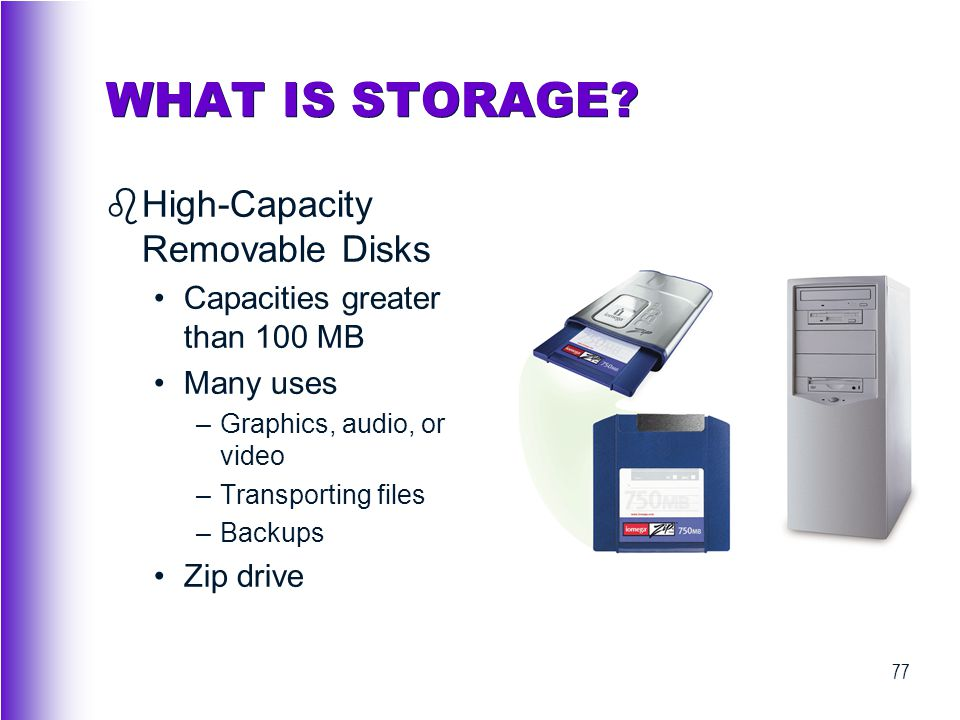 WHAT IS STORAGE High-Capacity Removable Disks