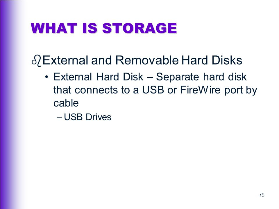 WHAT IS STORAGE External and Removable Hard Disks
