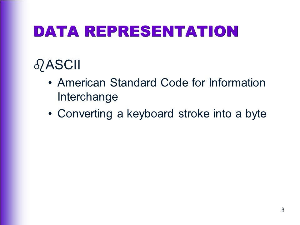 DATA REPRESENTATION ASCII