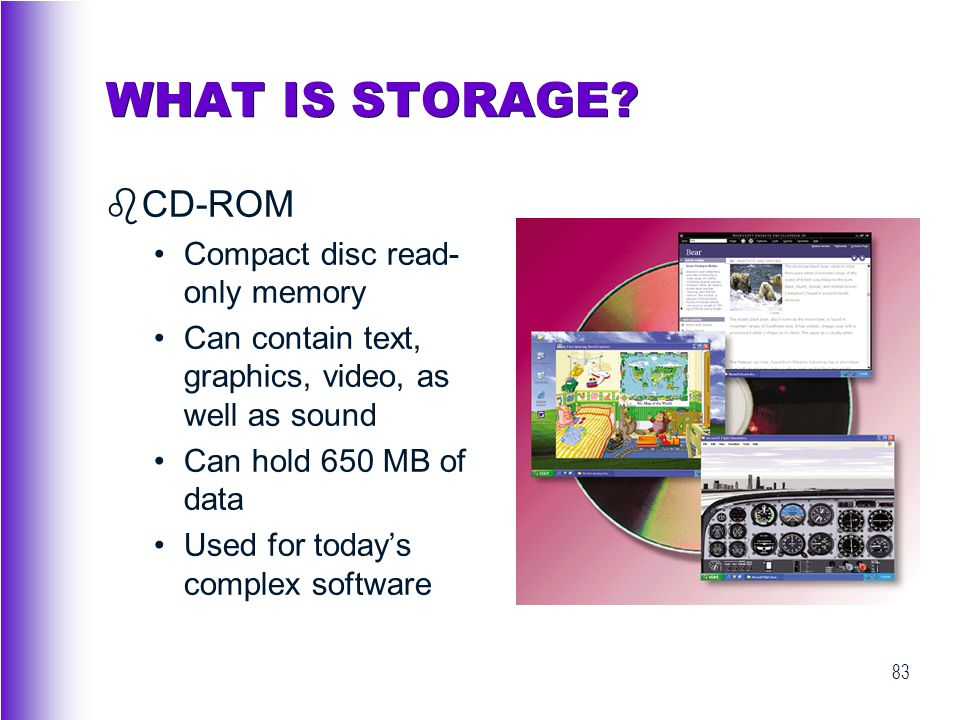 WHAT IS STORAGE CD-ROM Compact disc read-only memory