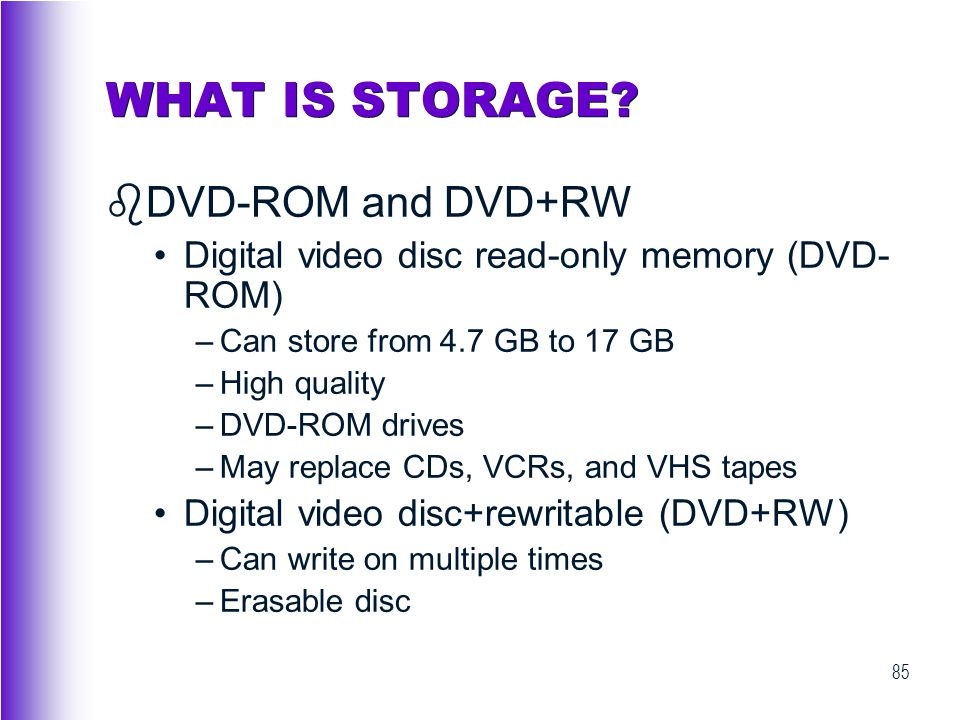 WHAT IS STORAGE DVD-ROM and DVD+RW