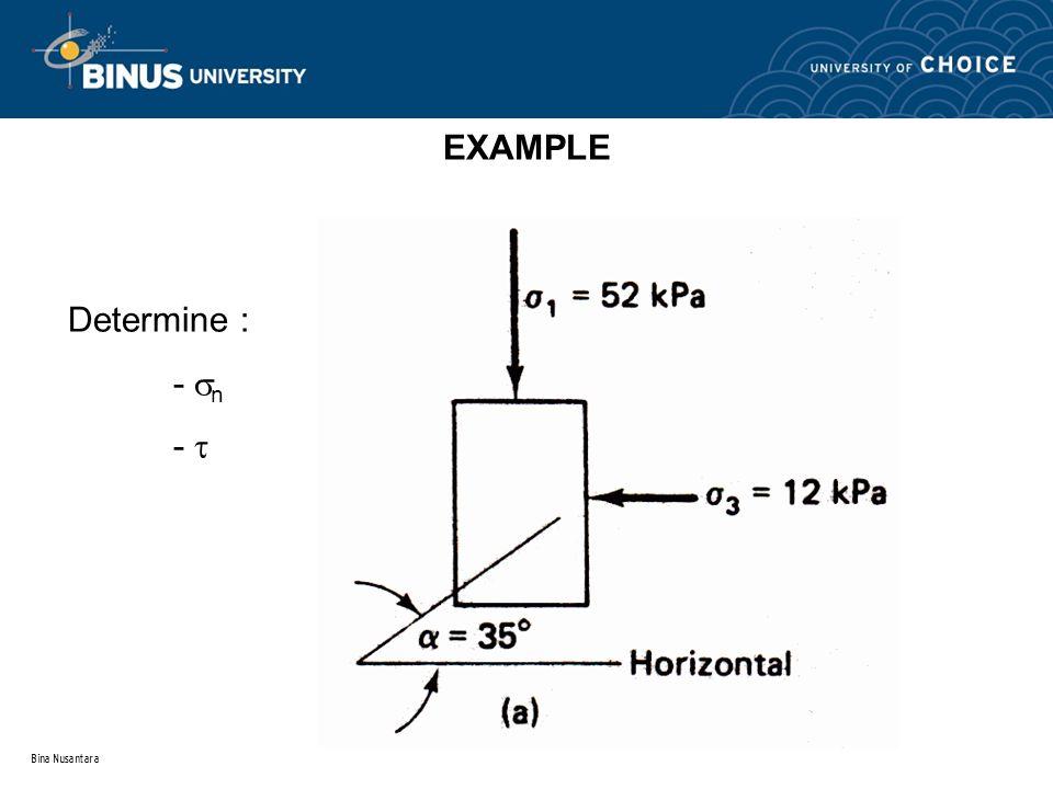 EXAMPLE Determine : - n -  Bina Nusantara
