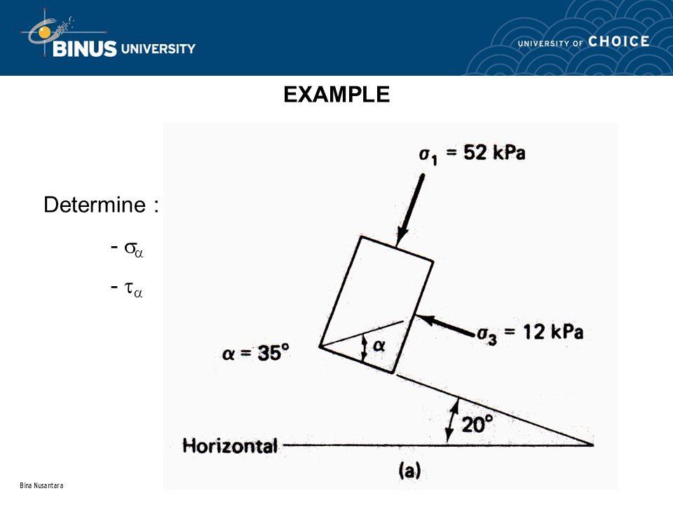 EXAMPLE Determine : -  -  Bina Nusantara
