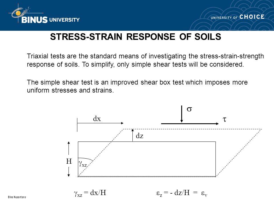STRESS-STRAIN RESPONSE OF SOILS