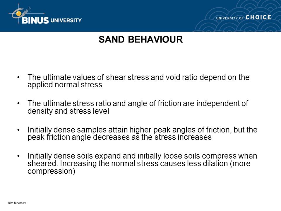 SAND BEHAVIOUR The ultimate values of shear stress and void ratio depend on the applied normal stress.