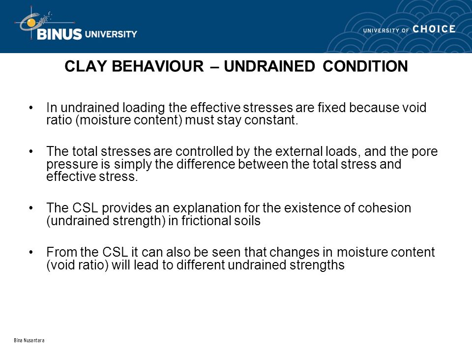 CLAY BEHAVIOUR – UNDRAINED CONDITION