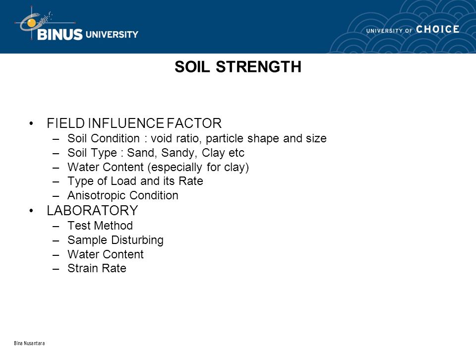 SOIL STRENGTH FIELD INFLUENCE FACTOR LABORATORY