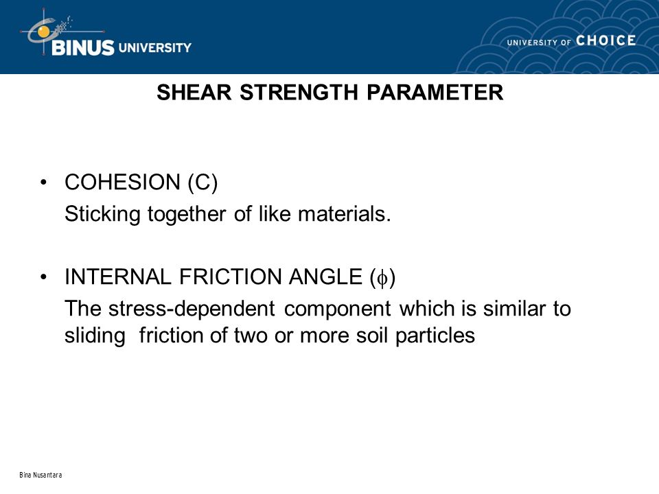 SHEAR STRENGTH PARAMETER