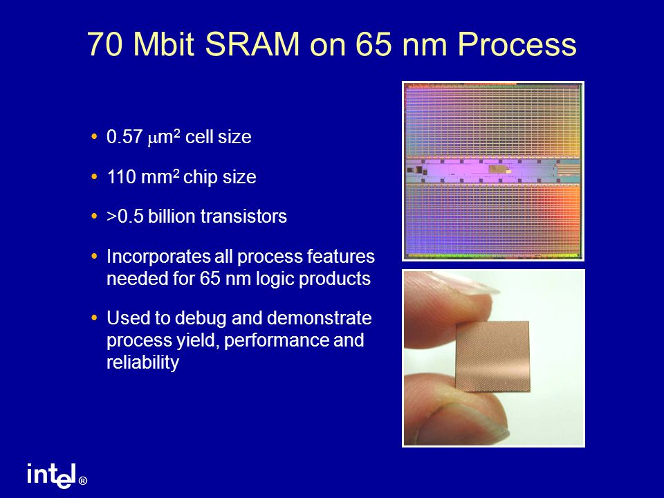 70 Mbit SRAM on 65 nm Process 0.57 mm2 cell size 110 mm2 chip size