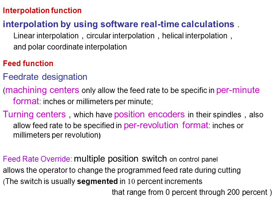 interpolation by using software real-time calculations.