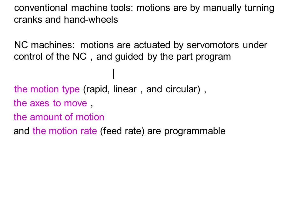 and the motion rate (feed rate) are programmable