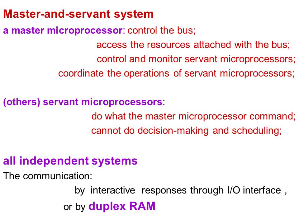 Master-and-servant system