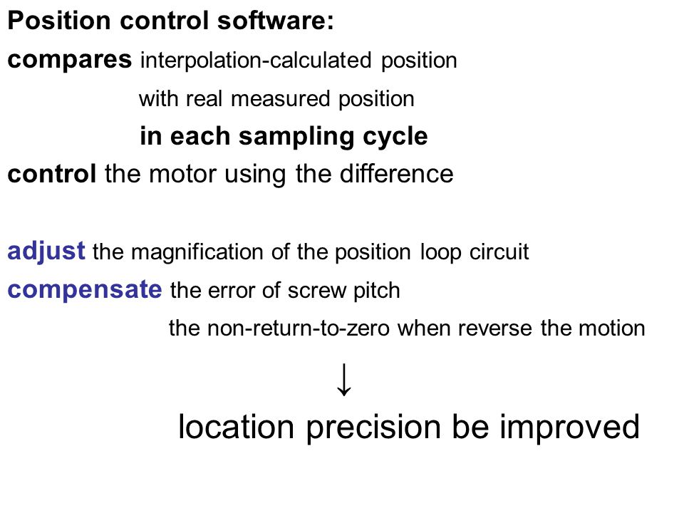 ↓ location precision be improved Position control software: