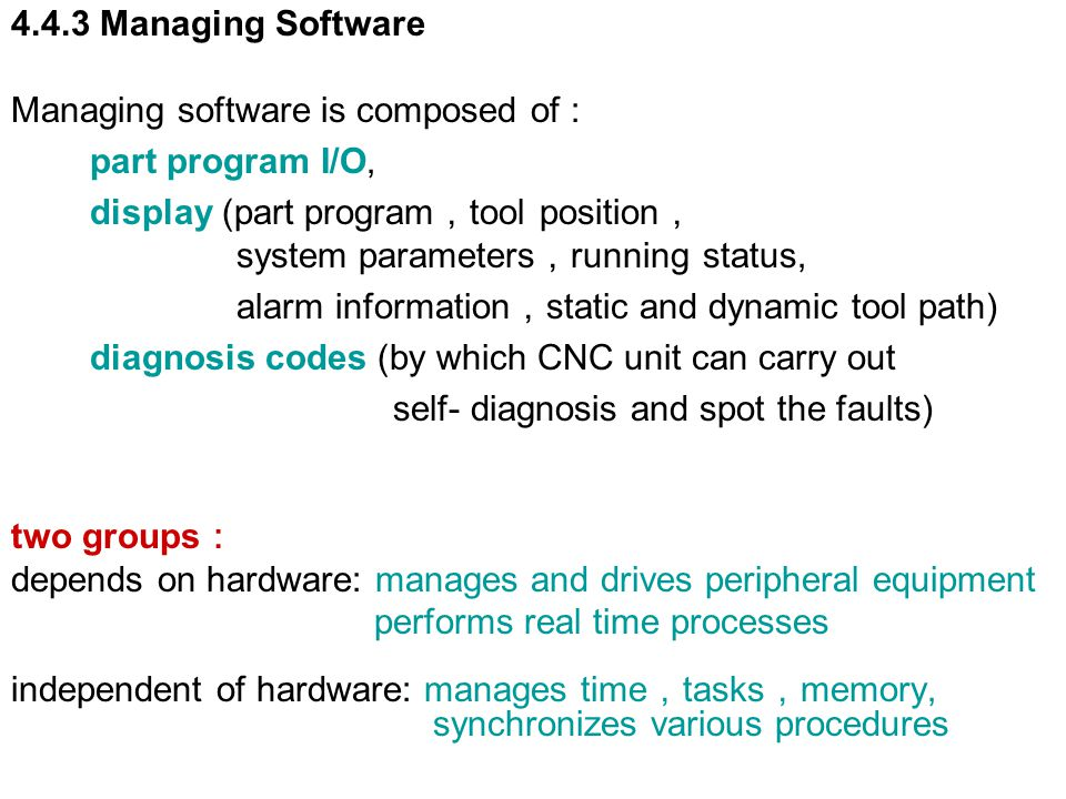 4.4.3 Managing Software Managing software is composed of : part program I/O, display (part program,tool position,
