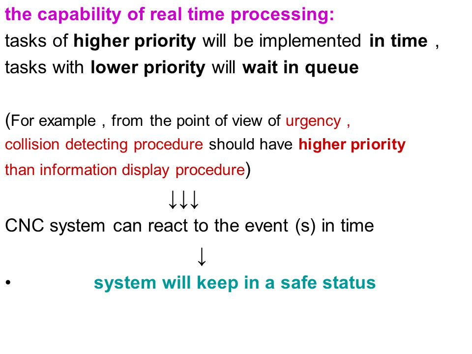 ↓↓↓ ↓ the capability of real time processing: