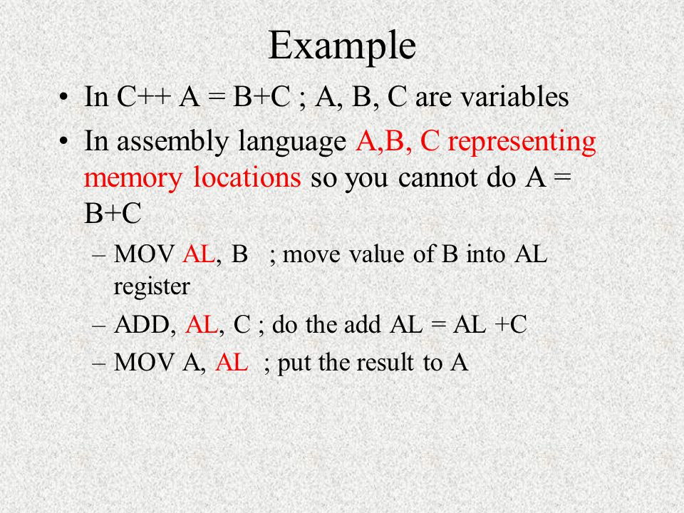 Example In C++ A = B+C ; A, B, C are variables