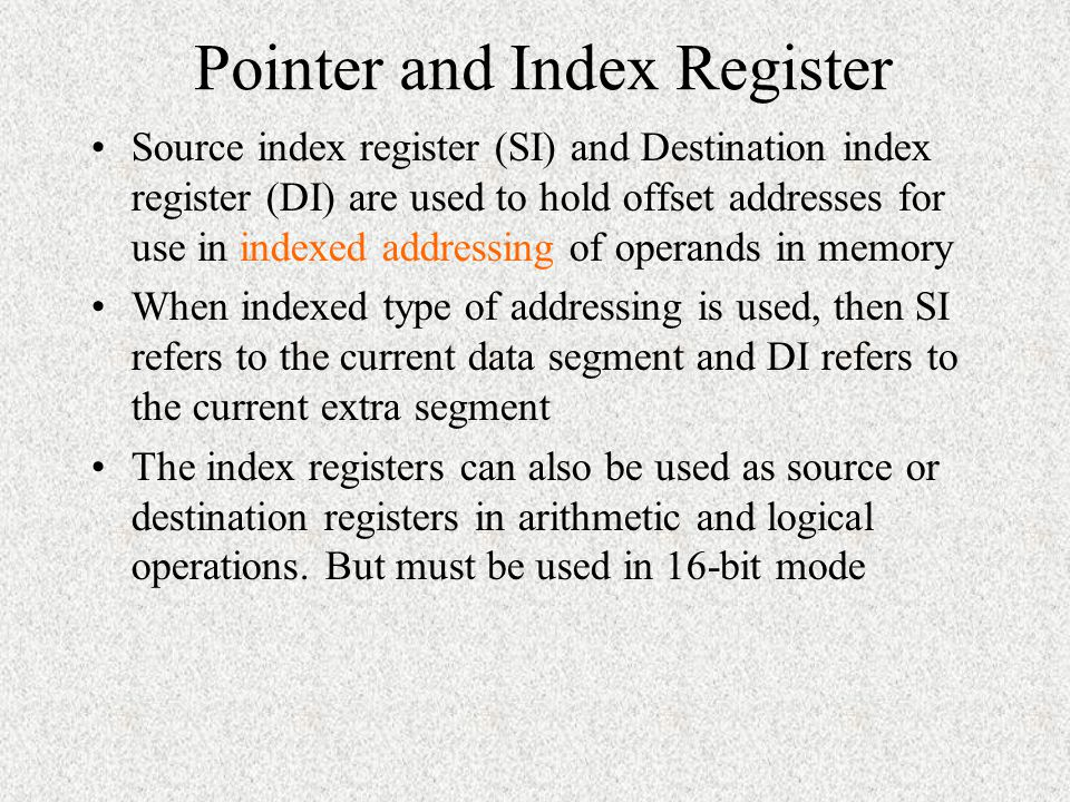 Pointer and Index Register