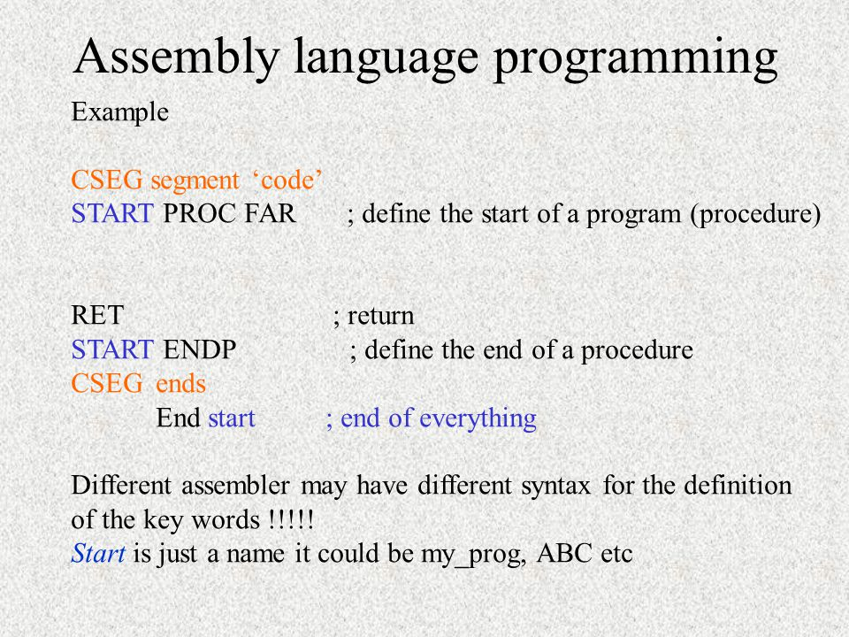 assembly language programming examples pdf