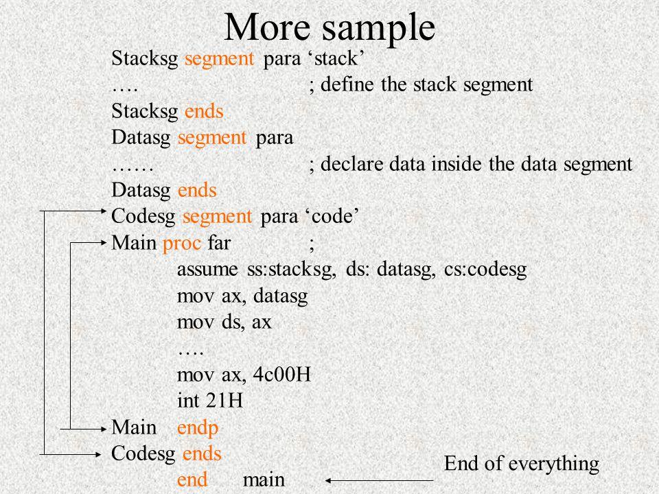 More sample Stacksg segment para 'stack' …. ; define the stack segment