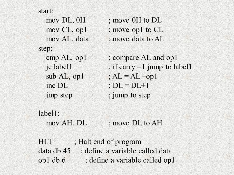 start: mov DL, 0H ; move 0H to DL. mov CL, op1 ; move op1 to CL. mov AL, data ; move data to AL. step: