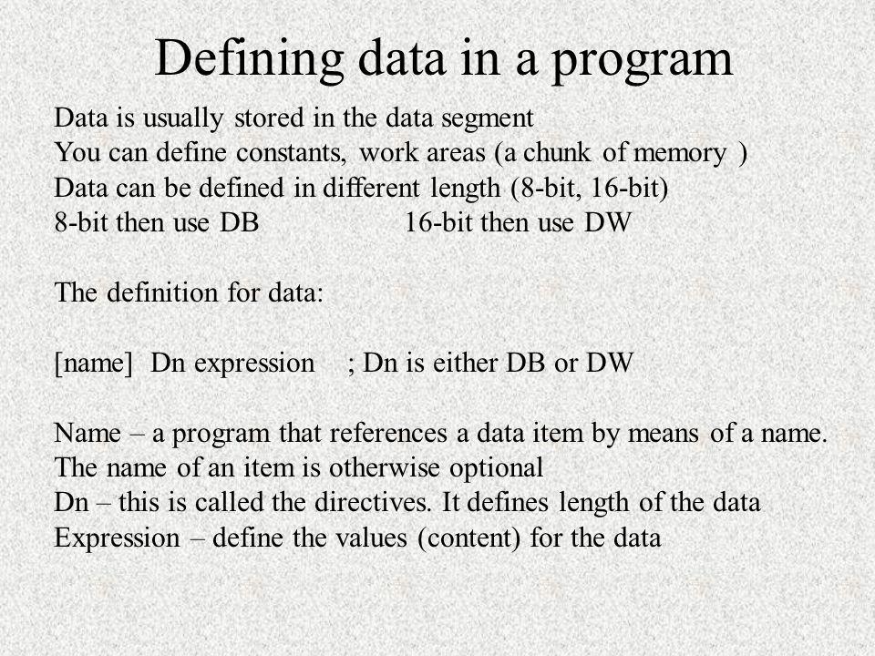 Defining data in a program