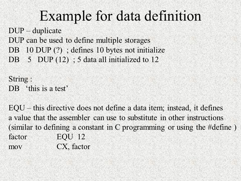 Example for data definition